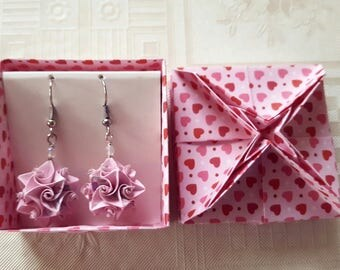 Origami earrings pink paper jewelry handmade