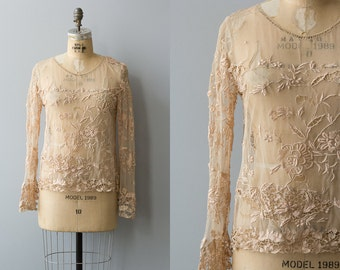 Aquitaine blouse | Vintage 1920s french lace blush handmade top | Antique lace tops