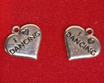 "BULK! 15pc ""I love dancing"" charms in antique silver style (BC1153B)"