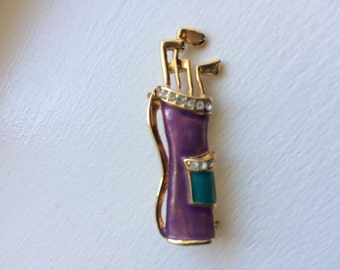 Vintage Enamel Purple And Teal With Rhinestones Golf Bag Brooch Pin