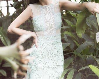 Mentol green short dress