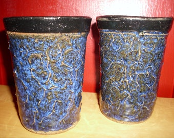 Hand Thrown pottery cups, Pottery Tumblers, Co bolt Blue Pottery, Hand Made Pottery,