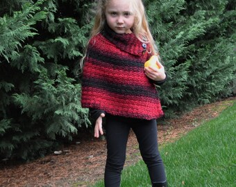 BEAUTIFUL GIRLS Ruby Red & Black CAPE Poncho Warm Cowl Neck Turtle Neck Soft Wool Acrylic Blend Handmade Quality Knit or Crochet
