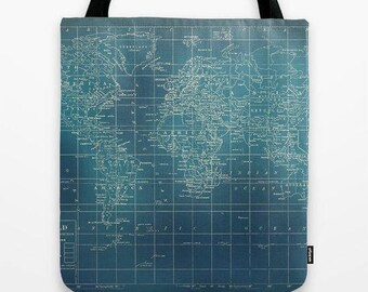 Grunge World Map Tote Bag, dark teal travel theme tote, everything bag, allover print, gift for mom, beach bag, travel bag