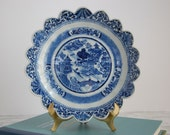 Antique Blue and White Asian Bowl - Scalloped Edge Bowl - Blue White Dish Plate