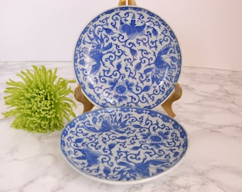 Blue and White Phoenix Porcelain Plate  - Japanese Porcelain Phoenix Bread Side Plate