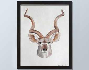 Original Antelope Watercolor Painting