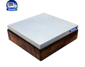 "Bench Block Steel & Wood Base 4"" Square 1.4"" Thick Flat 4x4 Jewelry Making Tool WA 140-022"