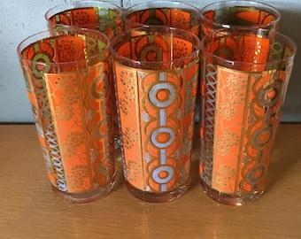 Mid Century Georges Briard Orange and Gold Tumblers, set of 5