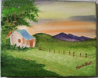 Oil Painting, Original 8x10, Green Pastures Oil Painting, Hand painted, Landscape Oil Painting, House Painting, Painted in the USA, #24