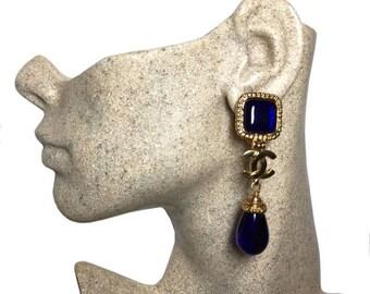 Authentic Chanel 1996 Vintage Blue Gripoix Glass CC Dangle Earrings