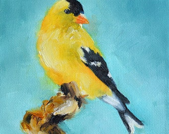 Original Oil Bird Painting, Impressionist Goldfinch Painting, Yellow Bird 6x6 Inch