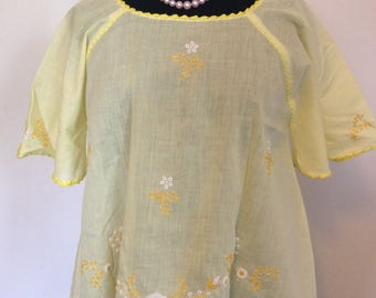 Yellow Embroidered Blouse - L