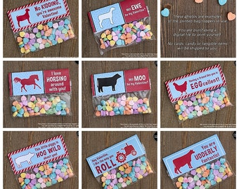 PRINTABLE Farm and Ranch Assortment Valentine Treat Bag Toppers for kids INSTANT DOWNLOAD - Valentine's Day party, goodie bag, cow, tractor