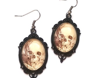 Gothic alternative Skull cameo Earrings  jewellery jewelry gift