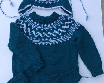 Childs Sweater, Kids Knit Sweater, Boys Sweater, Childrens Sweater, Toddler Sweater, Kids Sweater,  Knitted Sweater, Sweater with Hat Mitts