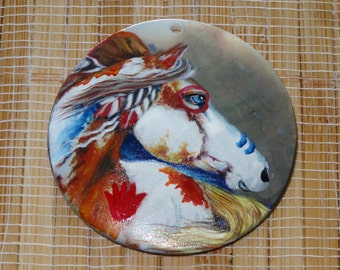Hand Painted War Horse Pendant Bead / Mother of Pearl Pendant / Horse Pendant / Painted Horse Pendant Bead / Hand Painted Shell Pendant