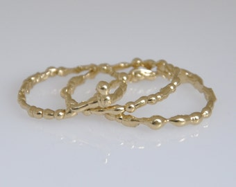 Thin Unique Gold Rings , 14K gold set Of Rings , Three Gold Rings , Set Of Gold Stacking Rings , 14k Gold Solid Rings, Set Of Stacking Rings