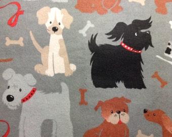 One Half Yard of Fabric - Dogs on Grey FLANNEL
