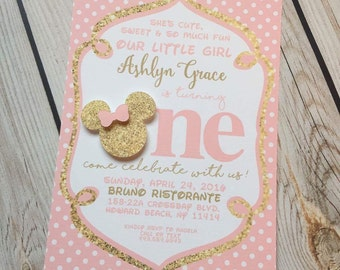 Minnie Mouse Invitations Pink Gold Glitter