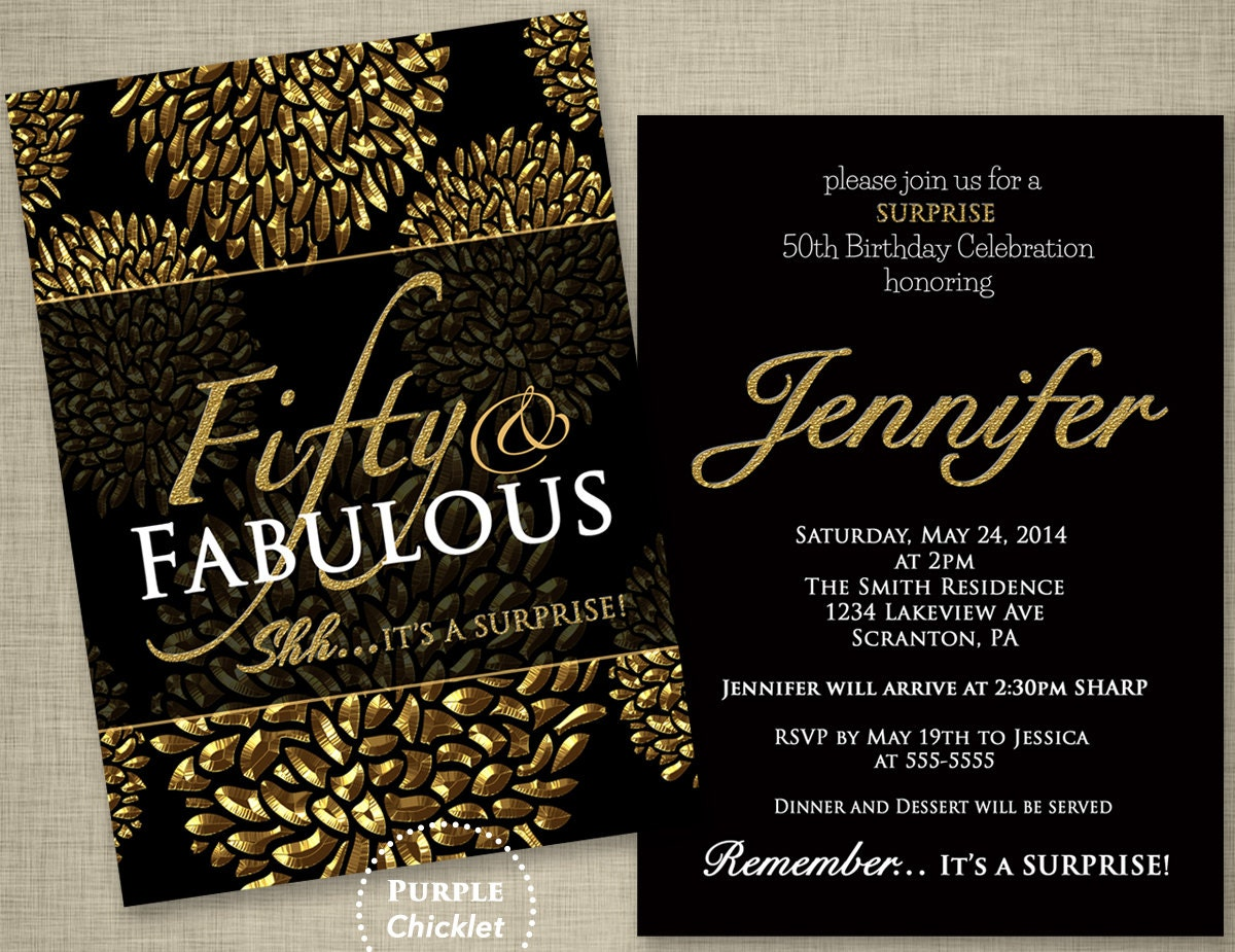 50th Birthday Surprise Party Invitation Gold Flower Bursts