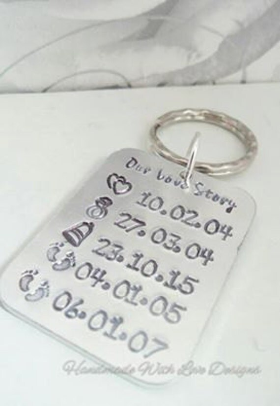 Our Love Story hand stamped key ring, anniversary key chain, personalised dates,  wedding, valentines