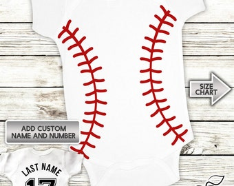Baseball Onesie - Infant Baby Personalized with Name and Number - Creeper - Bodysuit - Custom Jersey
