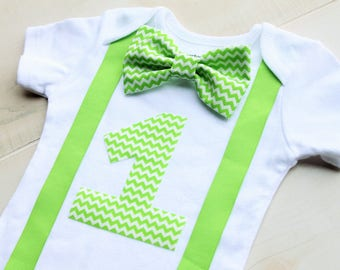 Bow Tie Birthday Outfit, Green Birthday Outfit, First Birthday Boy Outfit