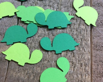 Green Turtle Confetti / Baby Shower Birthday Party Critter Animal Theme Decor Decoration Table Scrapbook Embellishments C013