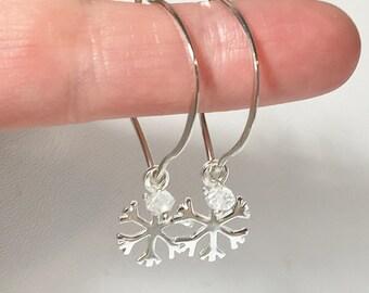 Sterling Silver Hoops, Snowflake Charm Hoop Earrings, Lotus Hoops, Winter Wedding, Bridesmaid gifts