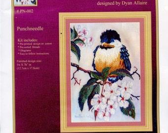 PUNCHNEEDLE KIT - BABY Chickadee; apple blossoms, nature, sleeping,