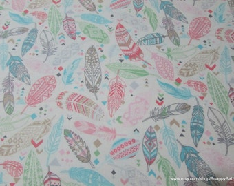 Flannel Fabric - Aztec Feathers Pastel - 1 yard - 100% Cotton Flannel