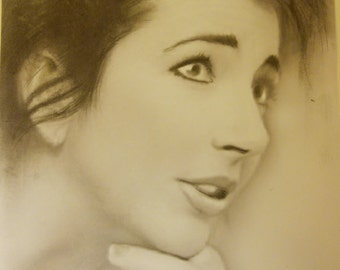 Kate Bush OOAK original artwork Charcoal and pencil.