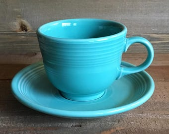 Fiestaware Cup & Saucer (Post-86) - Turquoise