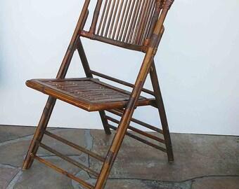 Vintage Bamboo Rattan Folding Chair Bohemian Folding Seat Boho Chic Mod  Beach House Eclectic Side Chair