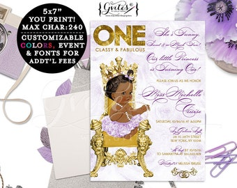 Princess birthday invitation, first birthday printable, purple lavender and gold, classy and fabulous, turning one, African American baby.
