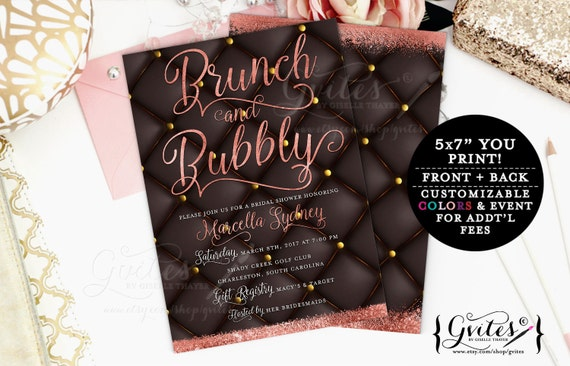 Brunch and bubbly invitation, bridal shower, rose gold invites, glitz glam, couture, designer fashion invitations, wedding gold pink, 5x7