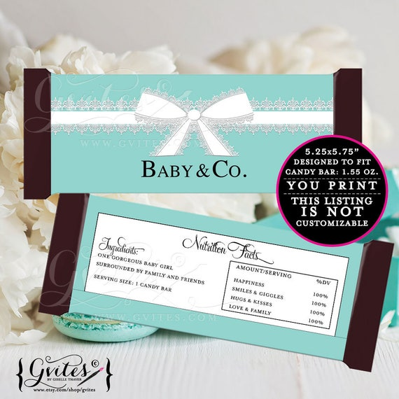 GIRL-Baby & Co Candy bar wrappers, blue theme decorations, labels decor, breakfast at and co favors gifts, 2-Per/Sheet {INSTANT DOWNLOAD}