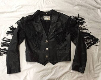 Vintage Pioneer Wear Fringe Short Waist Leather Black Biker Jacket Coat Women's