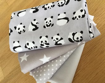 Lil PANDAS Fat Quarter Bundle in grey 100% cotton fabric