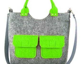 Felt purse Felt handbag Bag Shoulder bag for women Gray bag Felt bag Designer handbag Felt Modern Large bag