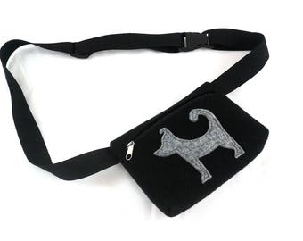 Felt sachet Dog sachet Waist black bag Waist bag Small bag Hip Bag Black bag For kids For Women
