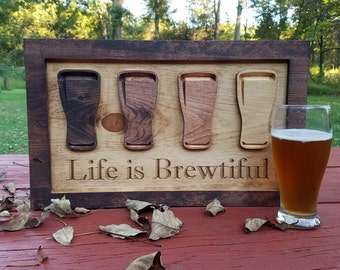 Beer Sign - Gift for Boyfriend - Anniversary Gift - Life is Brewtiful - Rustic Bar Sign - Man Cave Sign - Gifts for Him - Beer Lover Gift