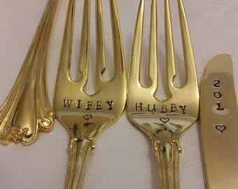 2or 3pc.Gold Wedding Forks Knife New Old stock 24K Gold Plated Hand Stamped Wonky Wifey Hubby forks. 201? knife Actual photos Gold flatware
