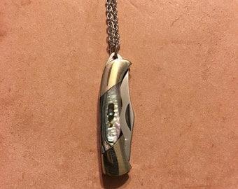 Abalone Shell Mini Pocket Knife Necklace
