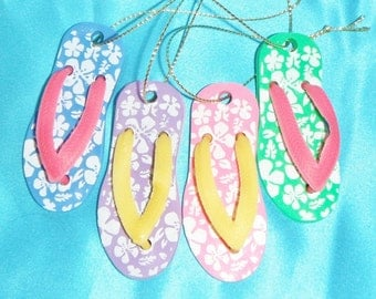 Set of Four ~ Small Colorful Hawaiian Flip-Flop ~ Christmas Ornaments