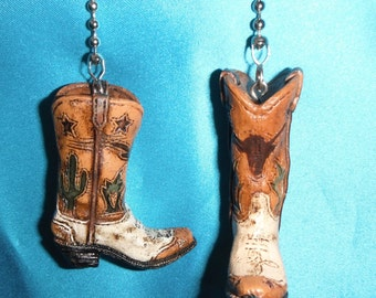Set of Two ~ Cowboy Boots Cactus Cacti Wild West Western ~ Ceiling Fan Pulls
