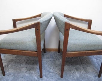Pair Danish Modern ArmChairs Teak Wood Arm Chairs Mid Century Dining Chair Office ArmChair MCM  Modern Wooden Furniture Upholstered Chairs