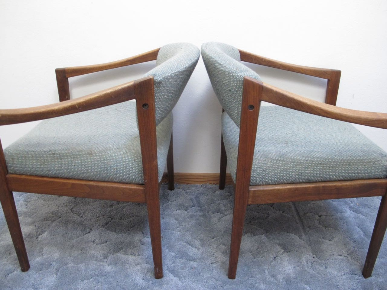 Pair danish modern armchairs teak wood arm chairs mid century for Mid century modern armchairs