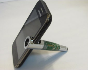 Handmade Smart Phone Stand &Stylus ( Chrome finish in a Green Circuit Board)with a black felt drawstring pouch